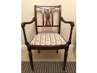 Set of 6 mahogany sprung seat dining chairs