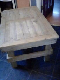 Oak stained, Handmade Solid Wooden Table.