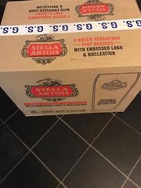 Stella Artois Pint Glasses 48 Glasses. Brand New. 4 boxes of 1 dozen.
