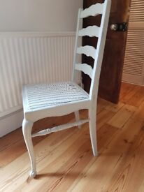 Set of 4 painted antique / vintage dining chairs with stripe fabric seats
