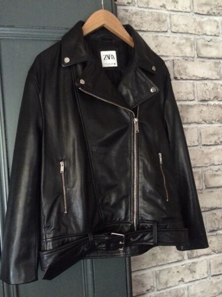 Black leather biker jacket. (Zara). Size 12. As new. Soft leather  for sale  Broxburn, West Lothian