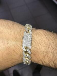 10k Yellow Gold 7.50 Carat Diamond Cuban Link Bracelet 8.75 inches 12.5 mm 84.5 grams