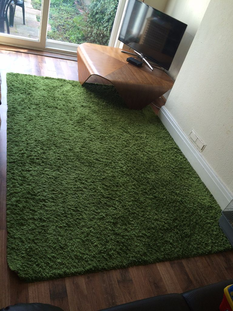 Hampen ikea shaggy carpet rug high pile 160 x 230 green for Ikea grass rug