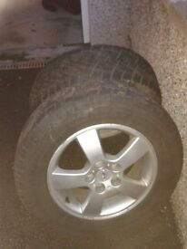 Two winter tyres on alloy rims to fit 2009 Hyundai Tucson good condition £125 O.N.O.