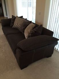 DFS 4 Seater Sofa, Cuddler & Footstool - Brown Leather/Material, In Lovely Condition!