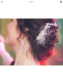 Crystal style wedding prom special occasion hair piece with necklace, earrings & bracelet