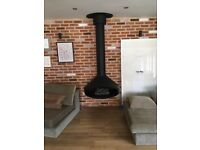 Hanging ceiling gas fireplace