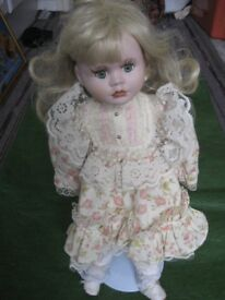 Lovely 38 cm Porcelain Doll on a Removable Metal Stand