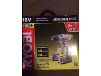 Ryobi 18v brushless percussion drill 2x 5.0ah batteries (BRAND NEW, unopened)