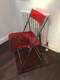 4 Folding Red Acrylic Dining chairs