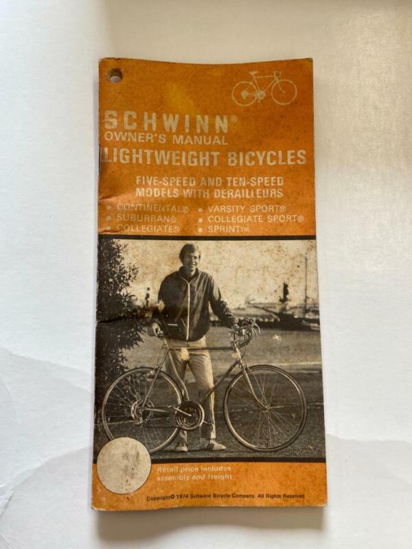 1974 Schwinn LIGHTWEIGHT Bicycle OWNERS MANUAL