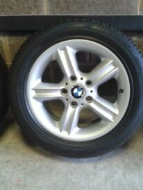 bmw alloy wheels excellent condition ,no scuffs or kerb marks, excellent tyres