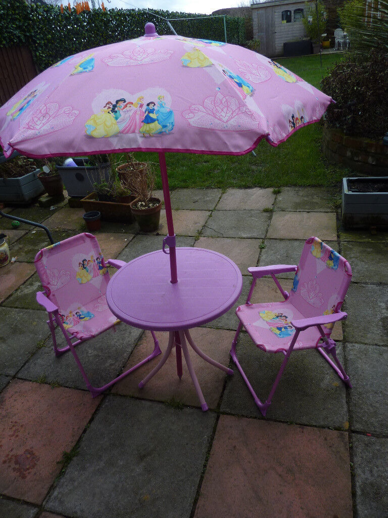 Disney Princess Kids Outdoor Patio Set Two Foldable Chairs Table And Sun Umbrella