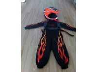 childs wolf helmet and suit trousers