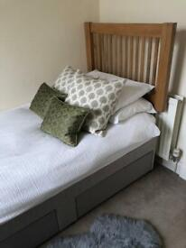 Single Bed, John Lewis two drawer divan storage bed base & John Lewis Oak