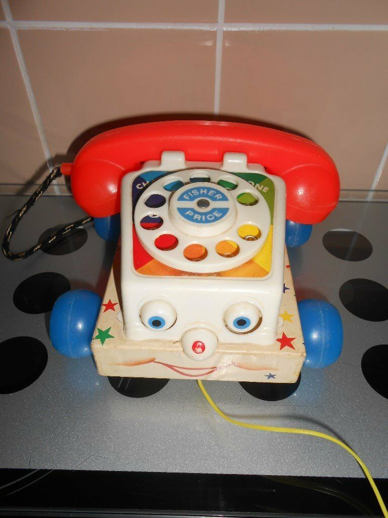ORIGINAL VINTAGE 1961 FISHER PRICE PULL ALONG CHATTER TELEPHONE