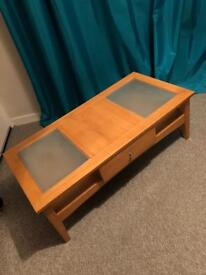 Coffee table with frosted glass tops and drawer