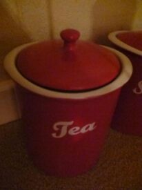 storage jars, red, Linea from house of fraser