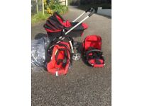 BABY AND CHILD TRAVEL SYSTEM. I-CANDY CHERRY PRAM, BUGGY AND CAR SEAT - ALL IN GOOD CONDITION