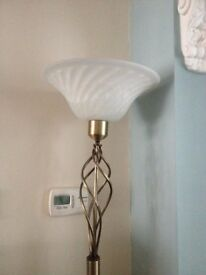Antique brass floor lamp with glass shade, BARGAIN!!
