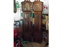 L@@K 2 X LONG CASE CLOCK CASES £30.00 EACH GRAND FATHER OR WESTMINSTER MOVEMENTS IN GOOD CONDITION