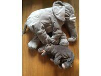 Grey elephant and hippo