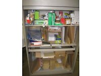 Steel roller shutter fronted storage cupboard with two shelves. Size 985mm w x 500d x 1575h