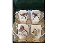 4 Bird pattern china mugs £10