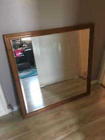 Large wooden mirror.