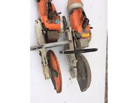 2 x Stihl TS350 disc cutter saws, not in working order, sold for spare or repair
