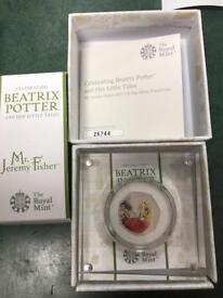 50p silver Beatrix Potter 2017 mr Fischer coin