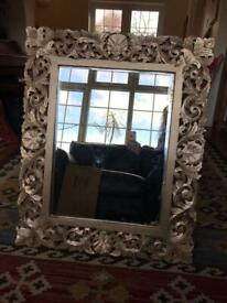 Gold painted wooden carved mirror