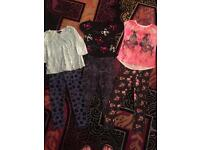 Fab girls bundle 3x leggings 3x tops age 6-7 years hardly worn