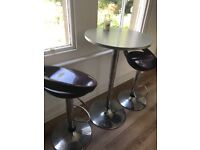 2 bar stools and high table