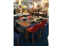 Brand New Modern Contempory Dining Table and 6 Padded Chairs rrp £799