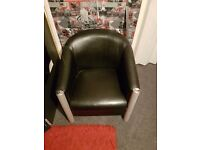 Two leather tub chairs