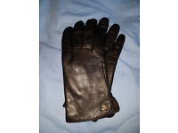 WARMEN Women Genuine Black Nappa Leather Winter Warm Simple Plain Style Lined Gloves