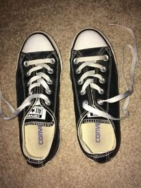 Black Leather converse Shoes size 3