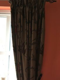 2 sets large lined curtains dark brown with floral print
