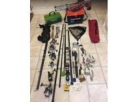 Joblot bundle fishing equipment including reels rods chair seat box etc