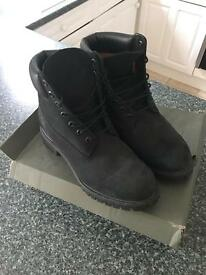 Triple black suede Timberlands boots