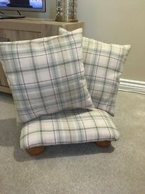 Footstool and cushions