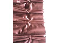 Curtains W:350 D: 164 burgundy lined and padded silk with beaded and crystal beaded edge