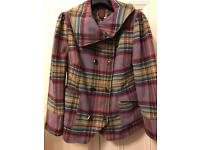 Ladies checked print coat