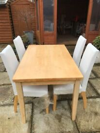 The Oblong Table - 140 x 80cm - is very solid and heavy. Plus 4 Padded Chairs.