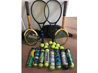 Tennis racquets and balls