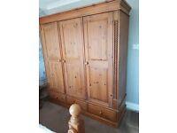 Durham pine 3 door wardrom double bed x2 bedside drawers