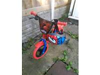 "Spiderman bike 12"" with stabilizers including Raleigh spiderman helmet"