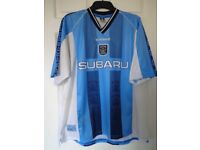 """VINTAGE 1998/99 COVENTRY CITY F C HOME SHIRT BY LE COQ SPORTIF SIZE 46/48"""""""