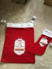 Beautiful personalised stocking and sack